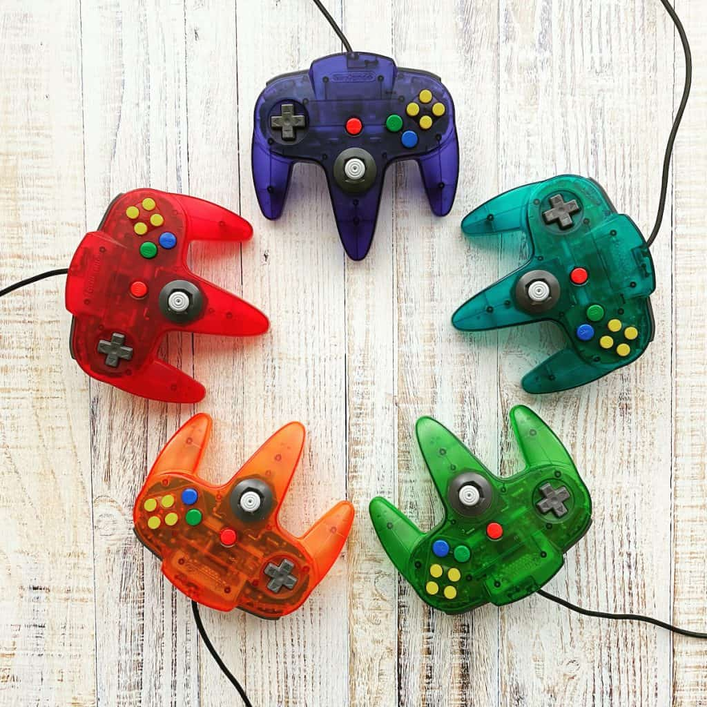 Grape purple, fire orange, watermelon red, jungle green, ice blue funtastic n64 controllers