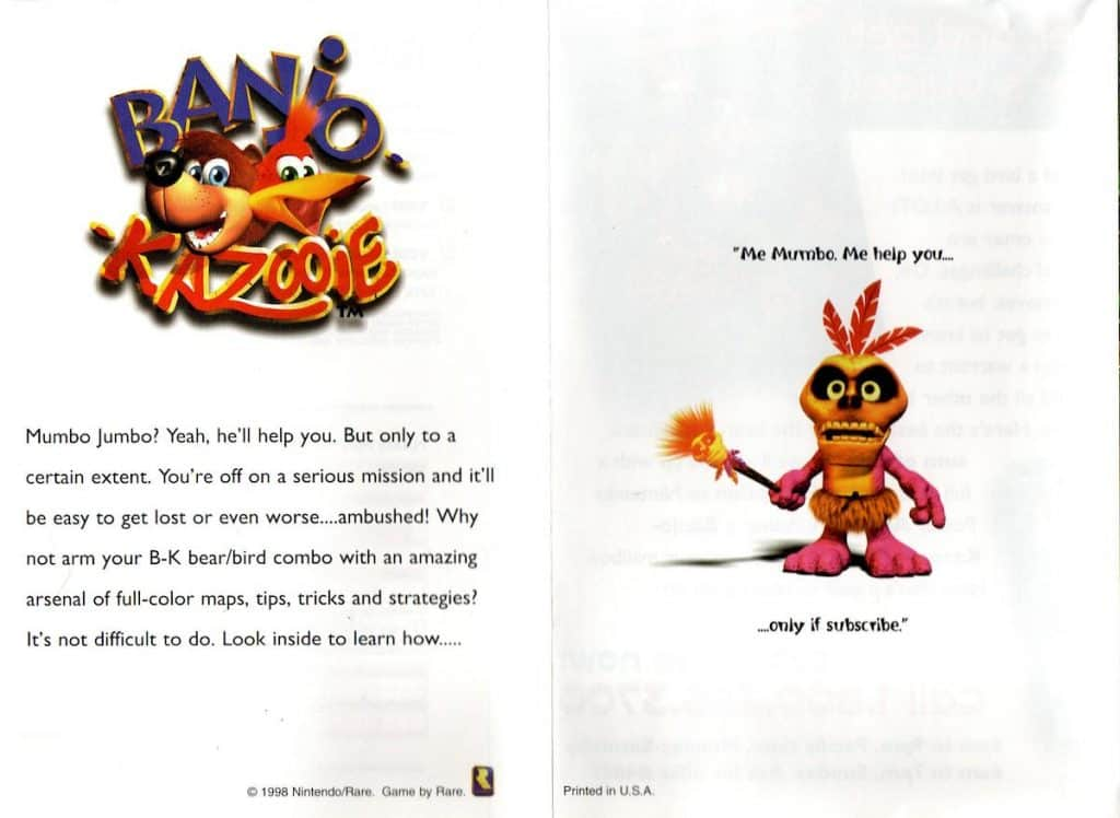 Box insert from Banjo Kazooie with players guide offer