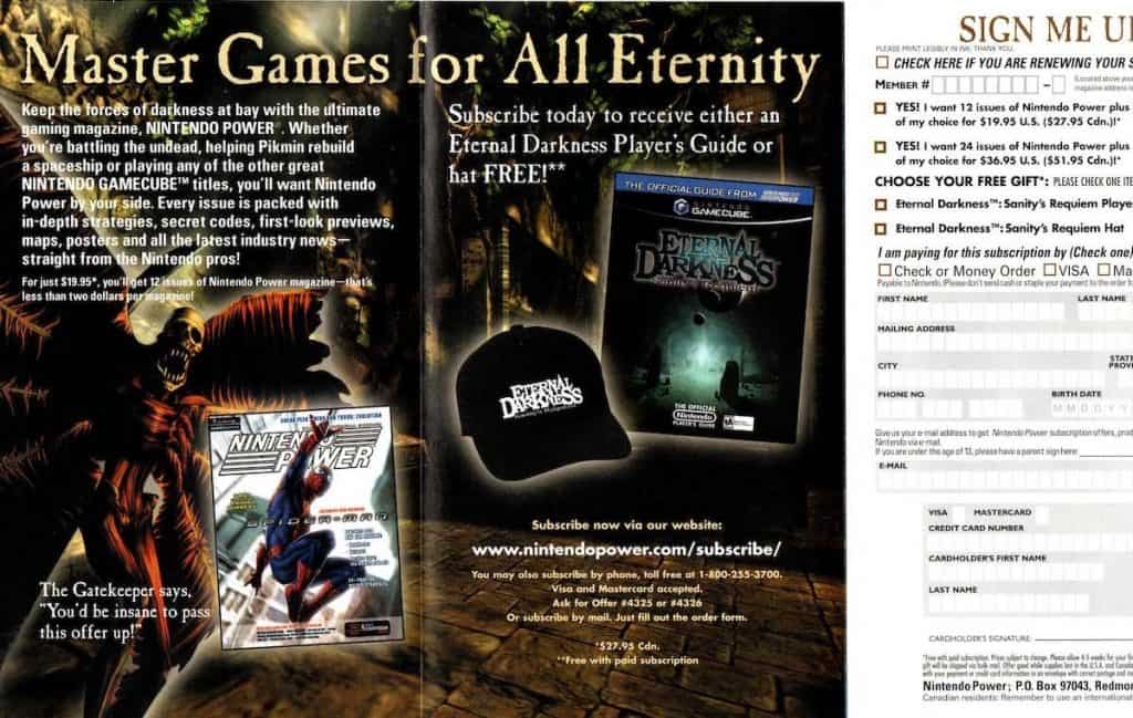 Box insert for Eternal Darkness player's guide