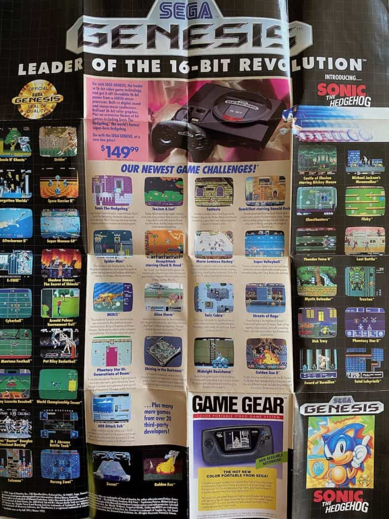 Advertisement poster for Sega Genesis games included with Sonic 1