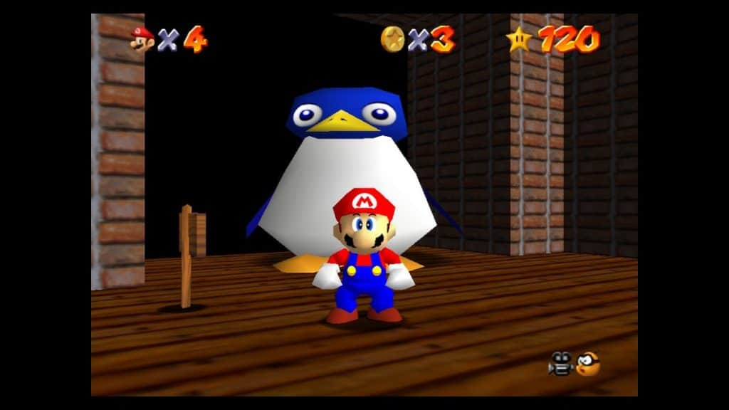 Giant penguin after 120 stars in Mario 64