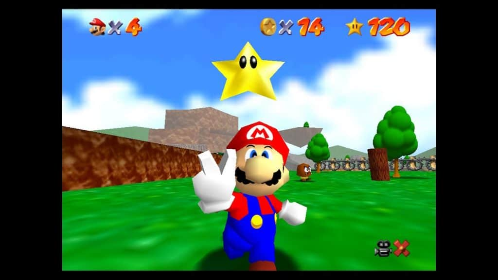 Mario getting a star in Mario 64
