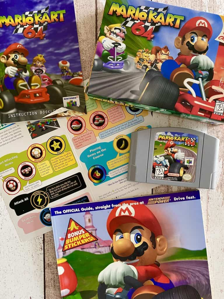 Mario Kart 64 box, cart, manual, operation card, and Nintendo Power player's guide