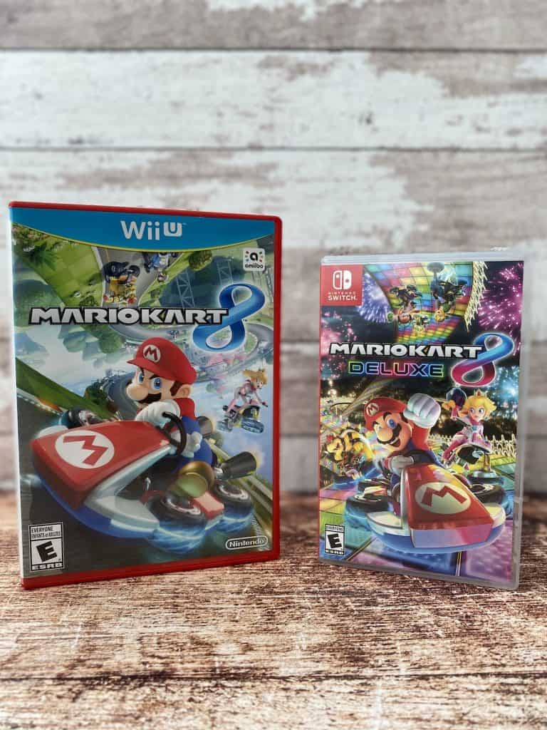 Mario Kart 8 for Wii U and Mario Kart 8 Deluxe for Switch boxes