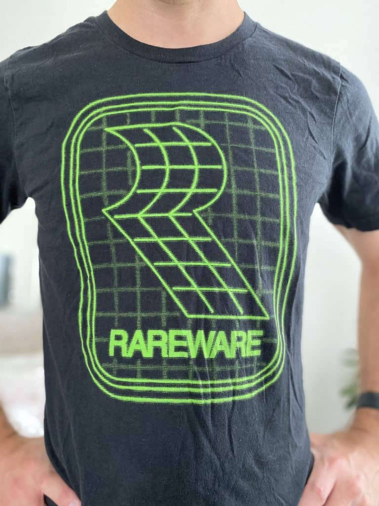 Rareware green frame t-shirt from Fangamer