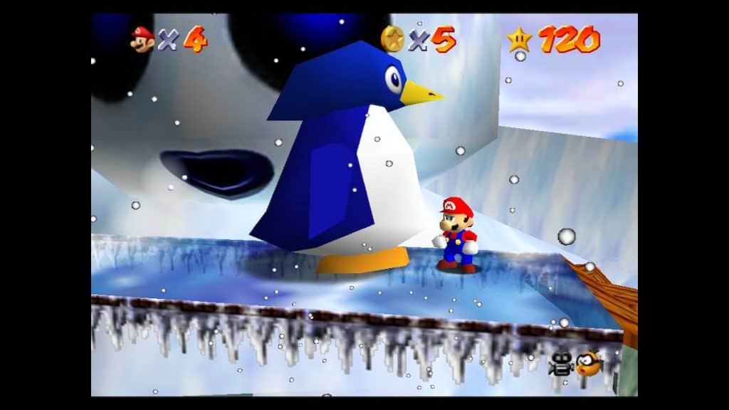 Snowman's Big Head star in Mario 64