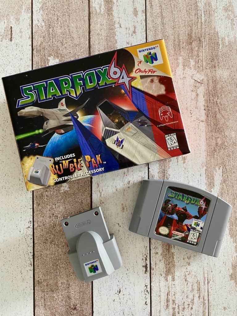 Starfox 64 box, cart, and Rumble Pak