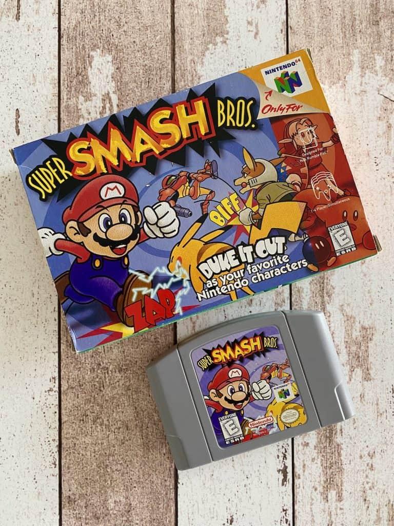 Super Smash Bros N64 box and cart