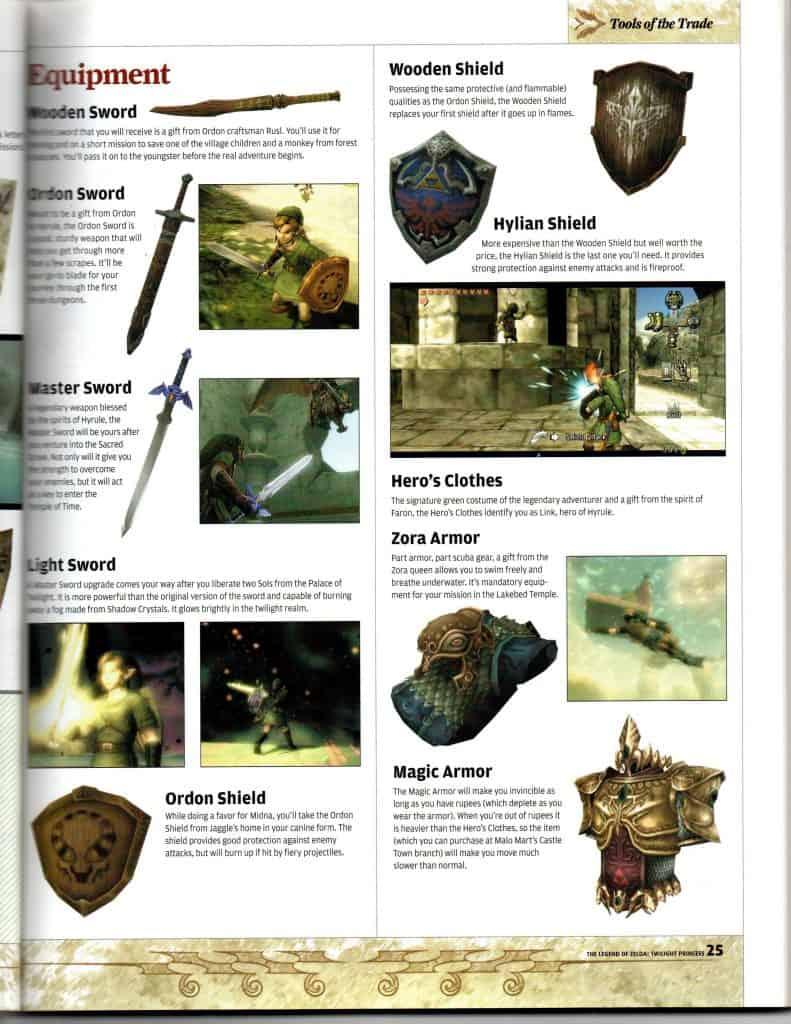 Twilight Princess NP guide item page