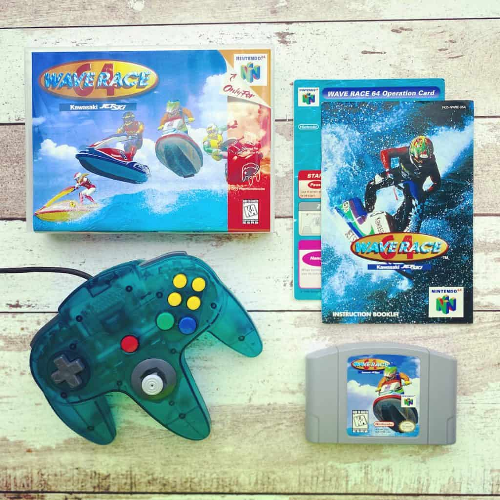 Wave Race 64 cart, box, manual, operation card, and ice blue controller
