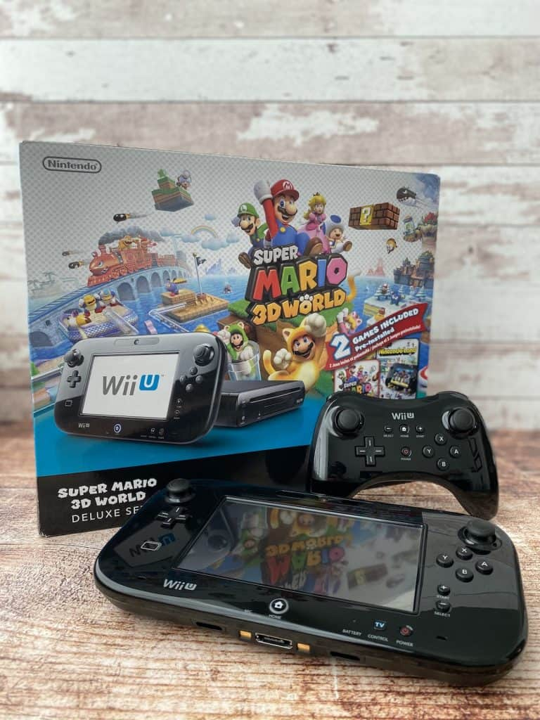 Wii U Super Mario 3D World Console Box, Wii Gamepad, and Wii U Pro Controller