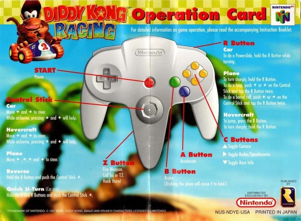 Diddy Kong Racing Operation Card Side 1