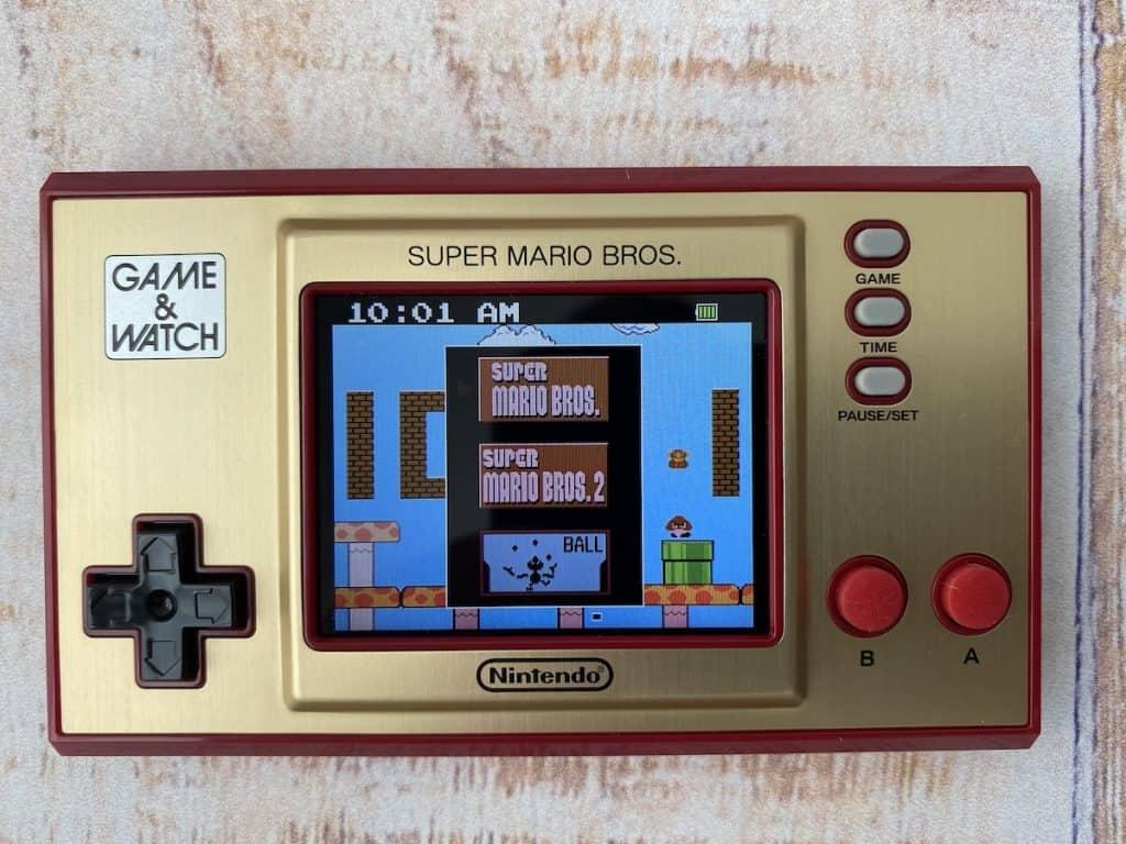 Game & Watch Super Mario Bros. game selection menu