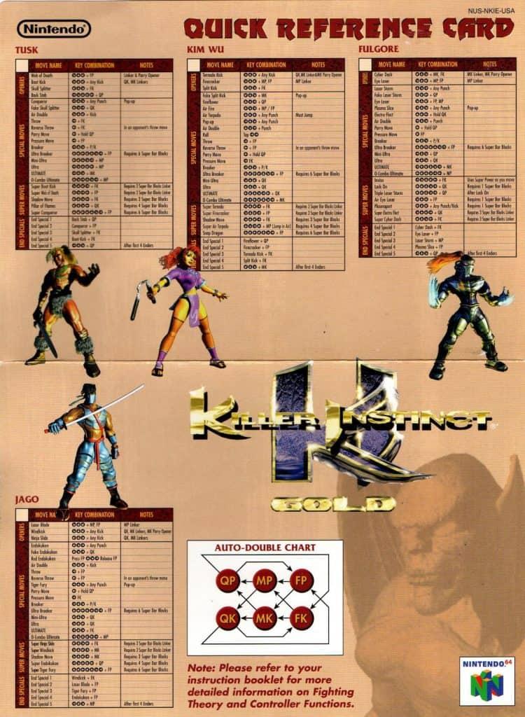 Killer Instinct Gold Operation Card Side 1