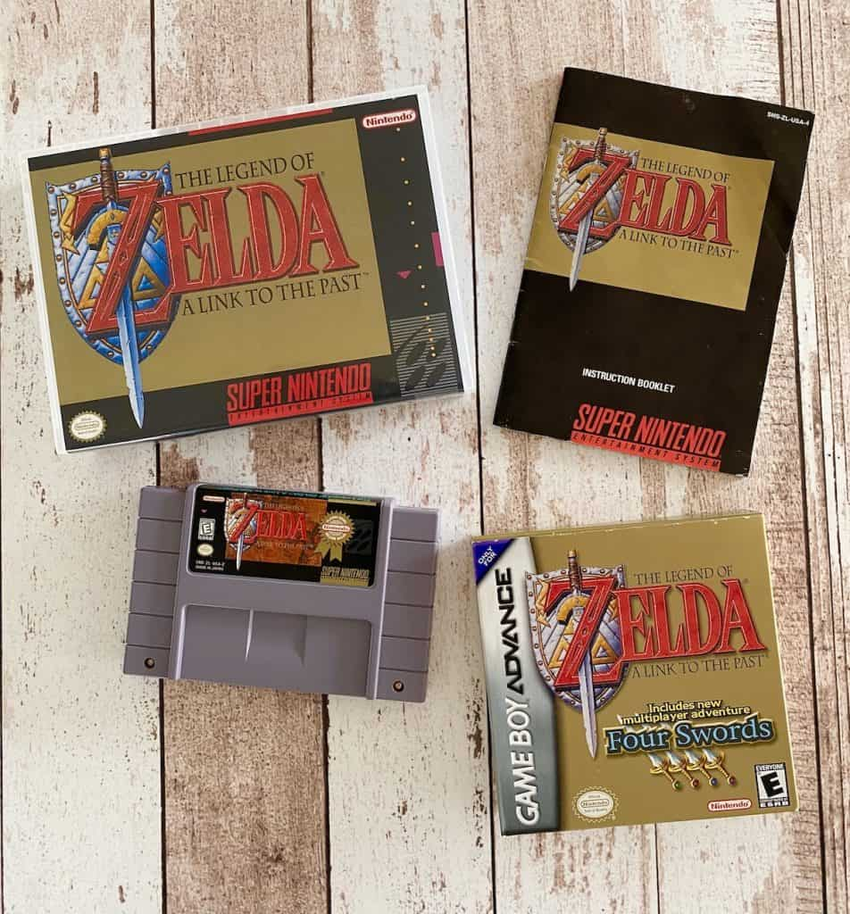 Zelda Link to the Past SNES box, cart, and manual with GBA version