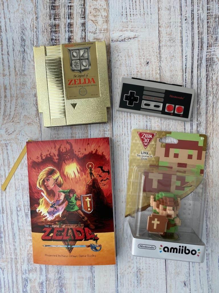 Zelda Hand Drawn Game Guide, NES cart, NES controller, 8-bit Link amiibo
