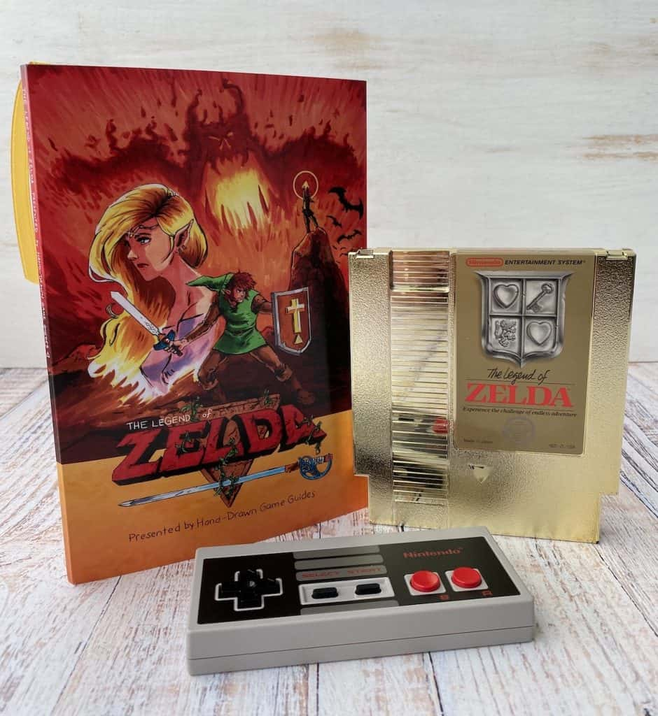 Legend of Zelda cartridge, Hand-Drawn Game Guide, and NES controller