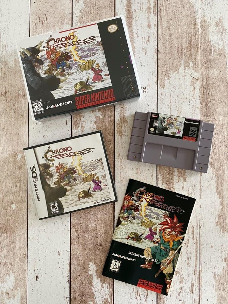Chrono Trigger SNES box, manual, and cart with Chrono Trigger DS