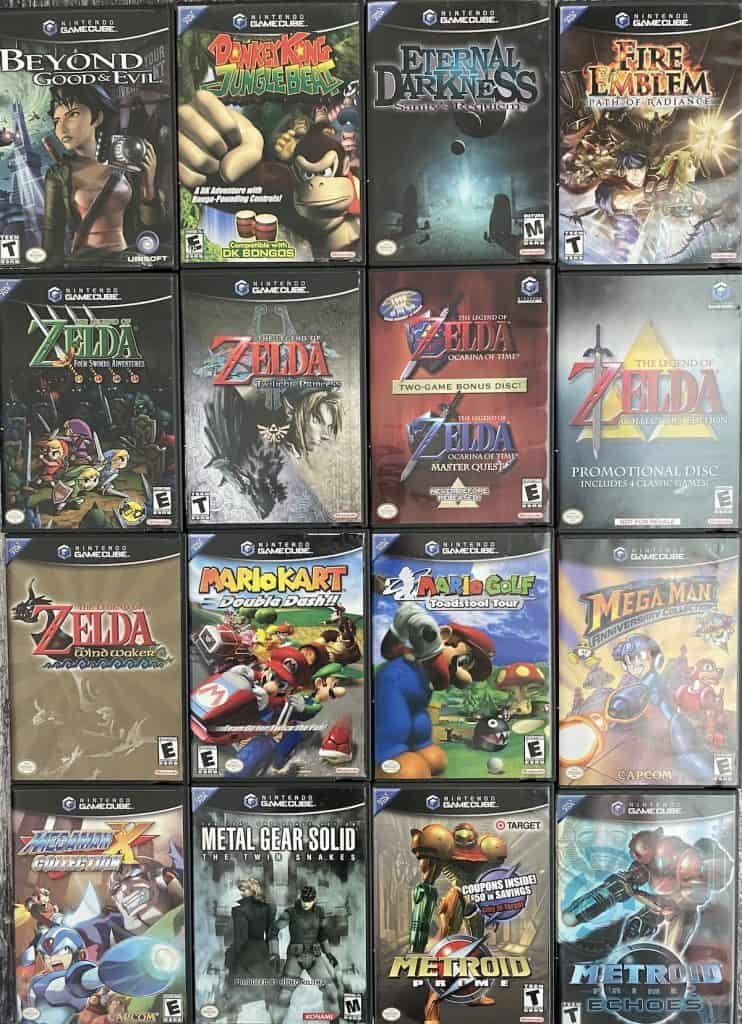 A collection of GameCube games, alphabetized