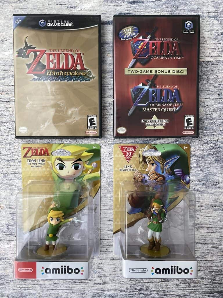Zelda Wind Waker and Ocarina of Time Master Quest on GameCube, plus Toon Link amiibo and Ocarina Link amiibo