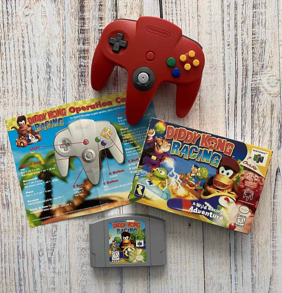 Diddy Kong Racing cart, box, operation card, and red controller