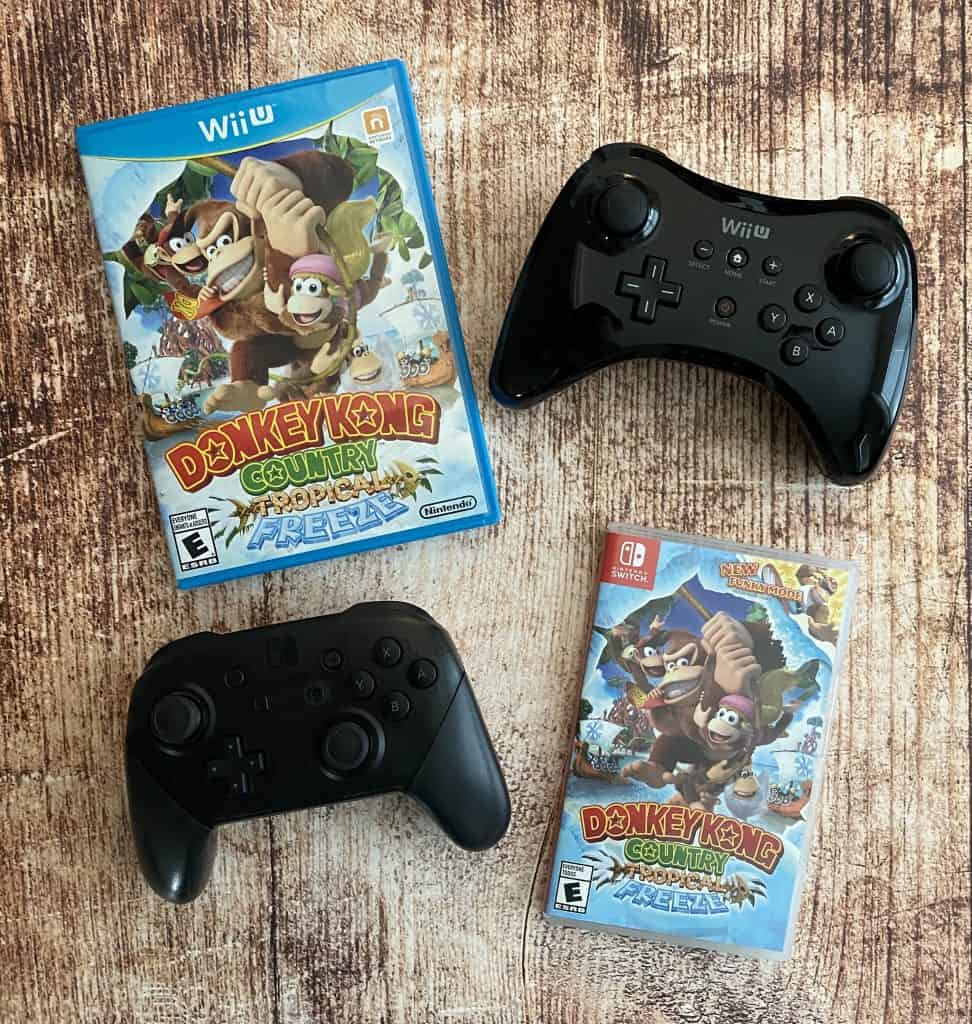 Donkey Kong Country Tropical Freeze for Switch and Wii U, and pro controllers for Switch and Wii U