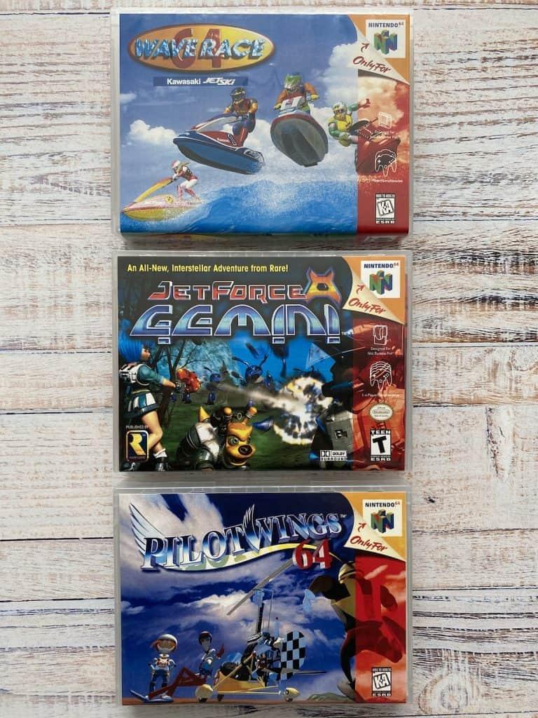 Wave Race 64, Jet Force Gemini, and PIlotwings 64 box art