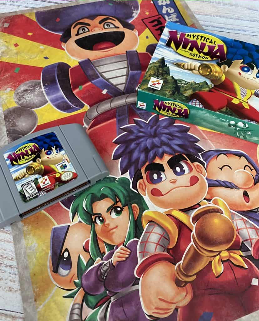 Mystical Ninja Starring Goemon for N64 cart, box, and poster from Fangamer