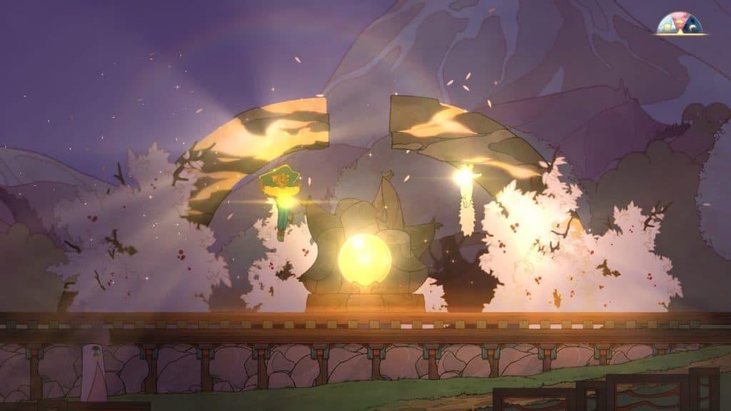 Screenshot from Spiritfarer of Stella powering up