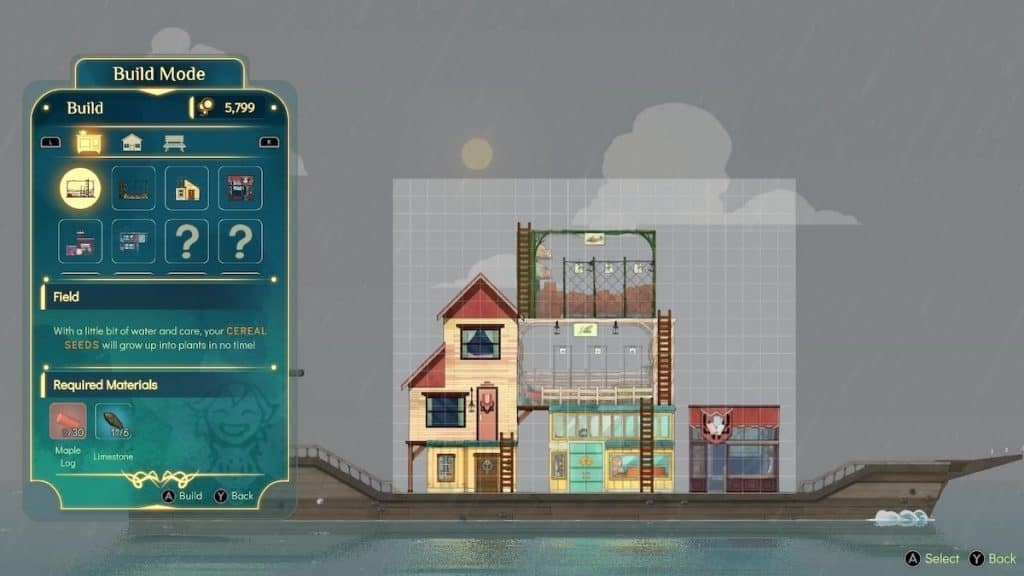 Screenshot of building new boat structures in Spiritfarer