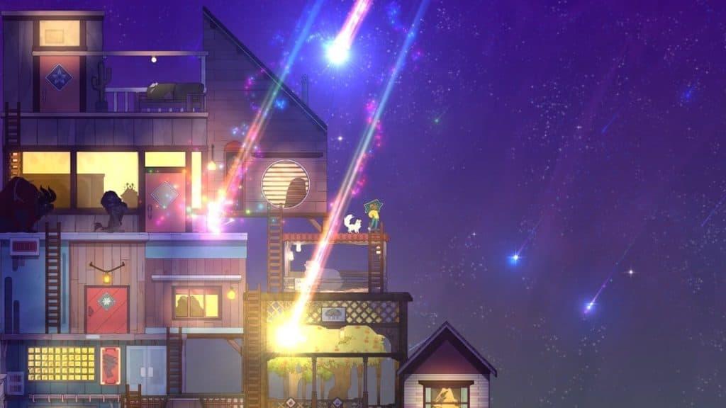 Screenshot of Spiritfarer meteor shower mini-game