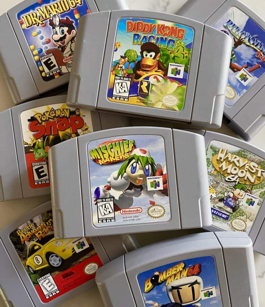 Stack of underrated N64 carts: Diddy Kong Racing, Mischief Makers, Dr. Mario 64, Pokemon Snap, Beetle Adventure Racing, Bomberman 64, Harvest Moon 64, and Pilotwings 64