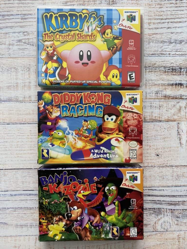 Kirby 64, Diddy Kong Racing, and Banjo Kazooie box art