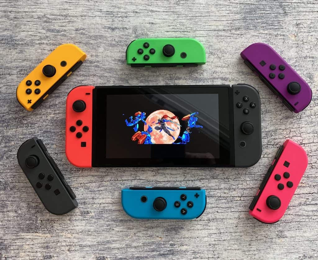 Cyber Shadow on Switch with colorful joy cons around it