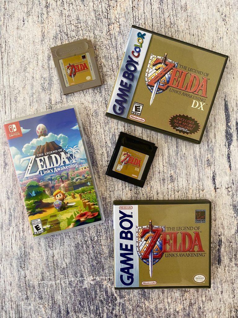 Zelda: Link's Awakening box and cart with Zelda: Link's Awakening DX box and cart, and Switch remake
