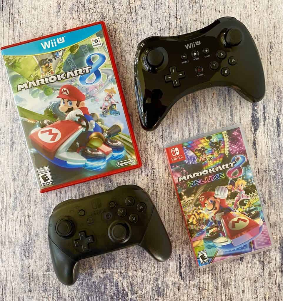 Mario Kart 8 for Wii U and Mario Kart 8 Deluxe with Wii U and Switch Pro controllers