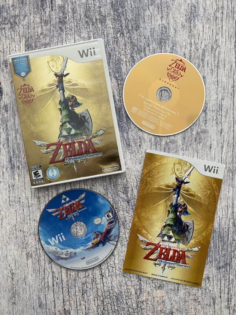 Legend of Zelda: Skyward Sword box, disc, manual, and soundtrack CD