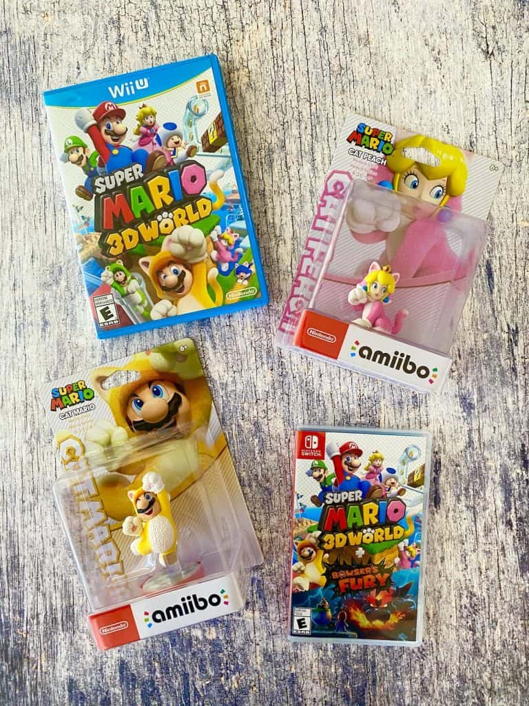 Super Mario 3D World for Wii U and Switch, and Cat Mario/Cat Peach amiibos