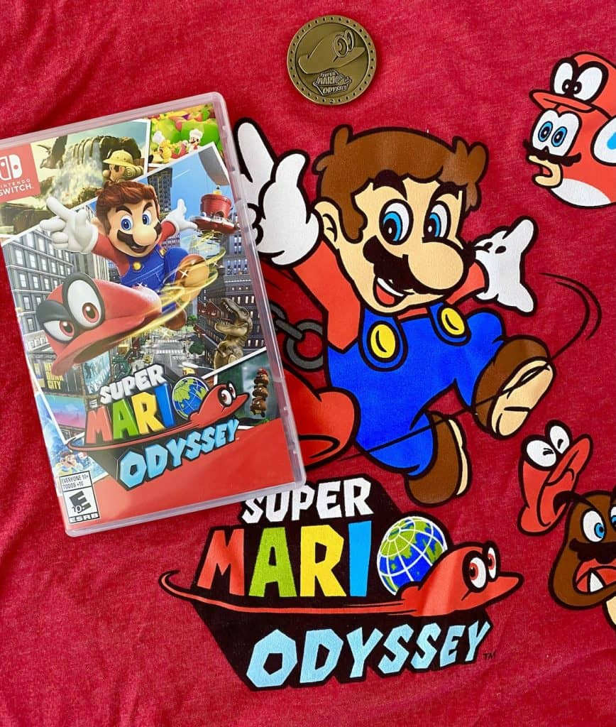Super Mario Odyssey case, t-shirt, and collector coin