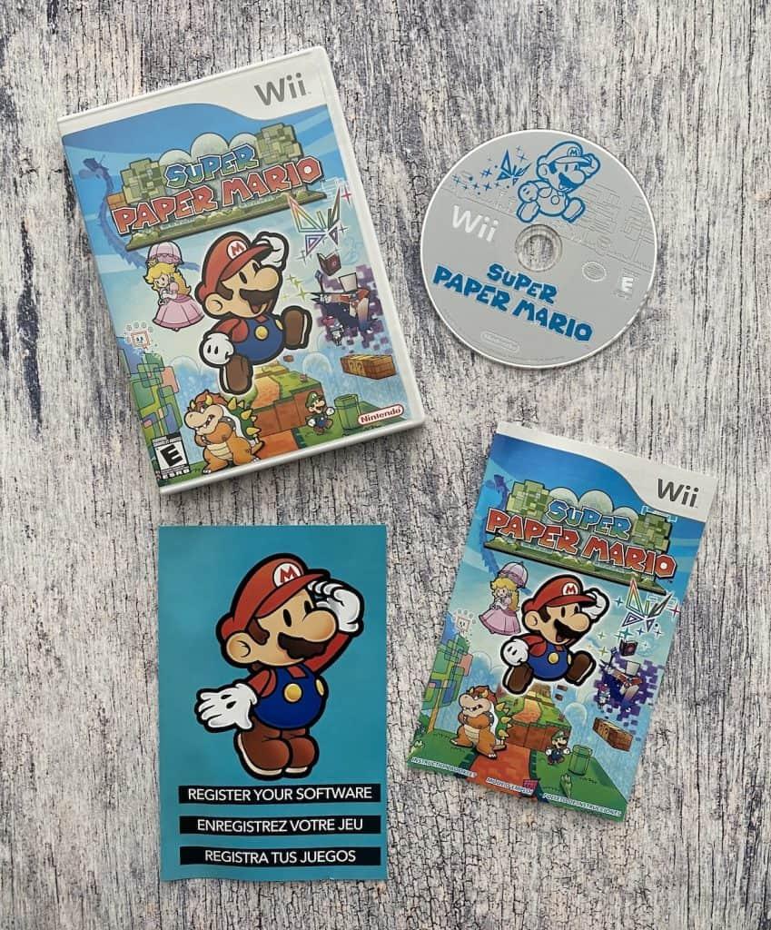 Super Paper Mario case, disc, manual
