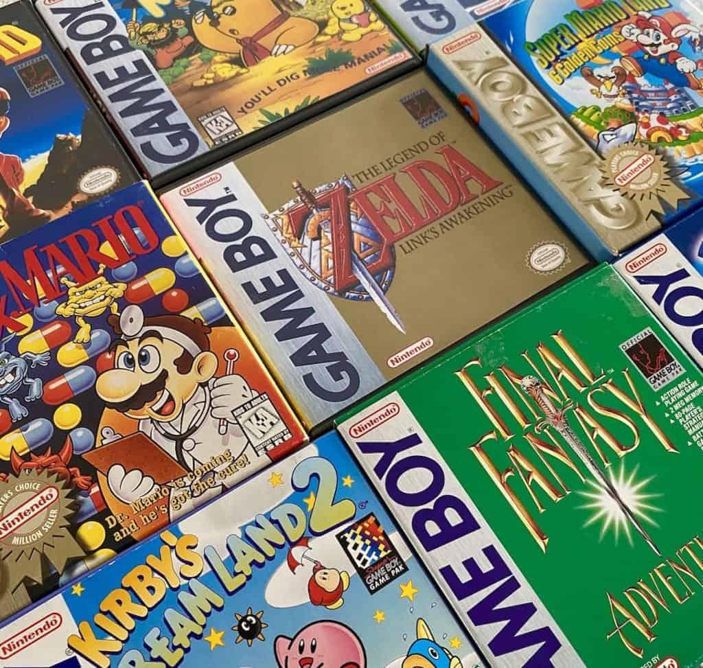 My favorite Game Boy games box art-Zelda Link's Awakening, Dr. Mario, Final Fantasy Adventure, Kirby's Dream Land 2, Mole Mania, Metroid II and Super Mario Land 2: Six Golden Coins