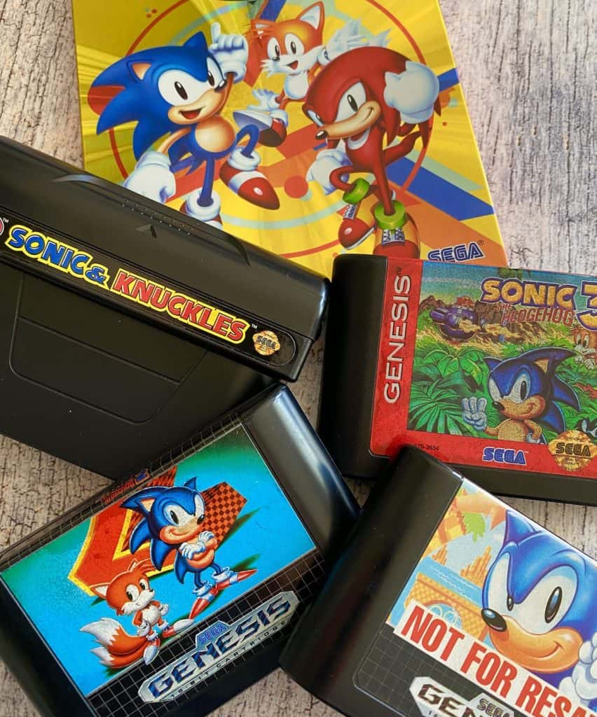 Sonic 1, 2, 3, & Knuckles game cartridges on Sonic Mania Switch box