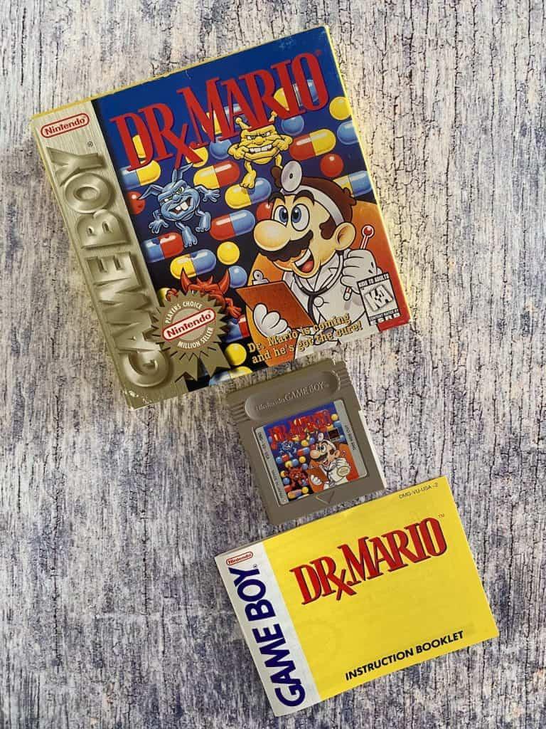 Dr. Mario Game Boy box, cart, and manual