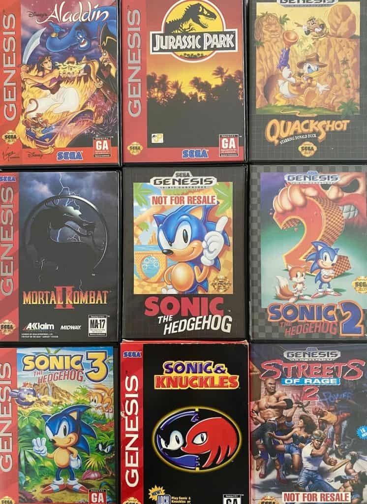 Aladdin, Jurassic Park, Quackshot, Mortal Kombat II, Sonic the Hedgehog, Sonic 2, Sonic 3, Sonic & Knuckles, and Streets of Rage 2 for Sega Genesis