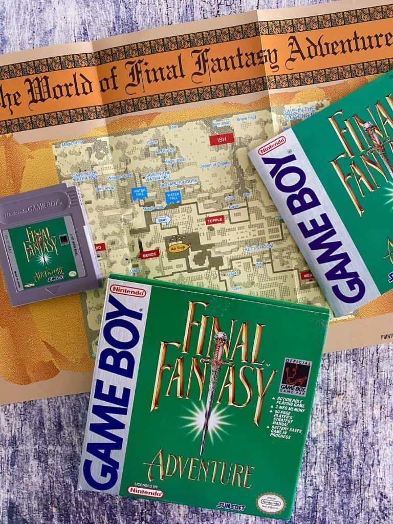 Final Fantasy Adventure box, cart, manual, and map