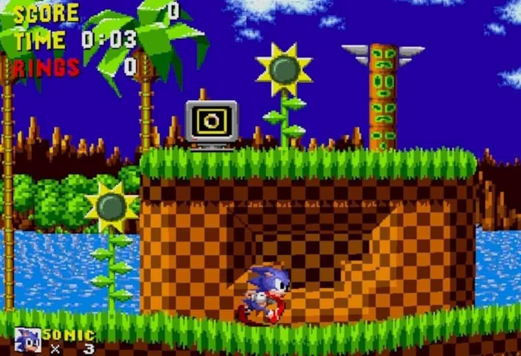 Sonic 1 Green Hills Zone Act 1 screenshot