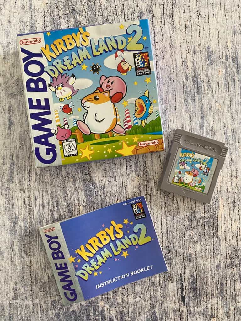 Kirby's Dream Land 2 box, cart, and manual