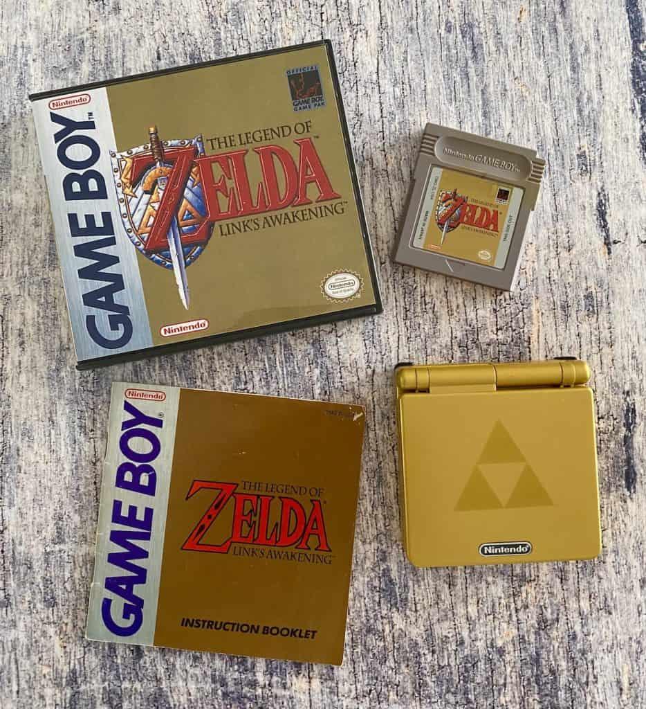 Link's Awakening Game Boy box, cart, manual, and Zelda GBA SP