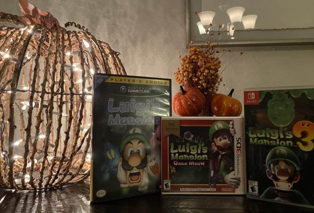 Luigi's Mansion for GameCube, Luigi's Mansion Dark Moon, and Luigi's Mansion 3