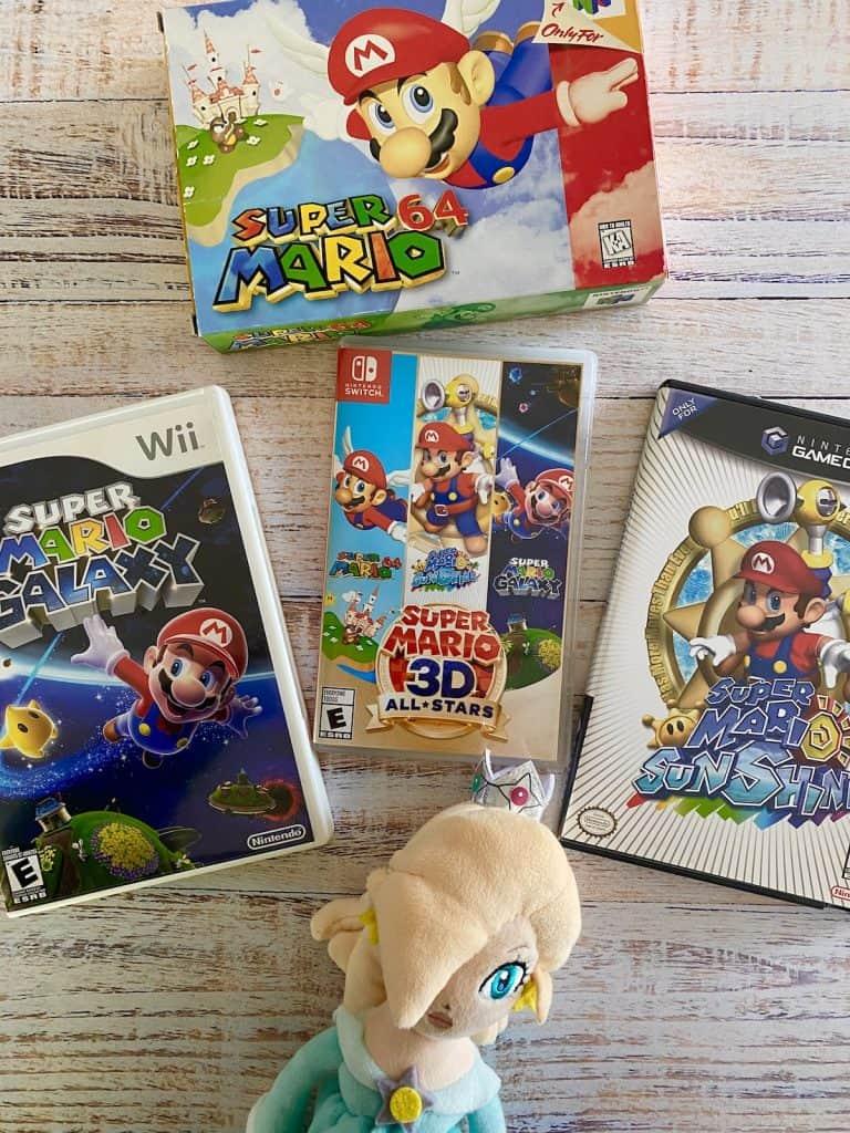 Mario 3D All-Stars with Super Mario 64, Super Mario Galaxy, Mario Sunshine, and Rosalina stuffie